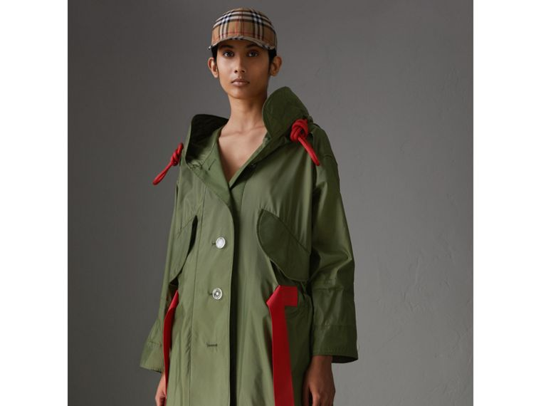 Tape Detail Showerproof Hooded Parka in Light Olive - Women | Burberry Singapore - cell image 4