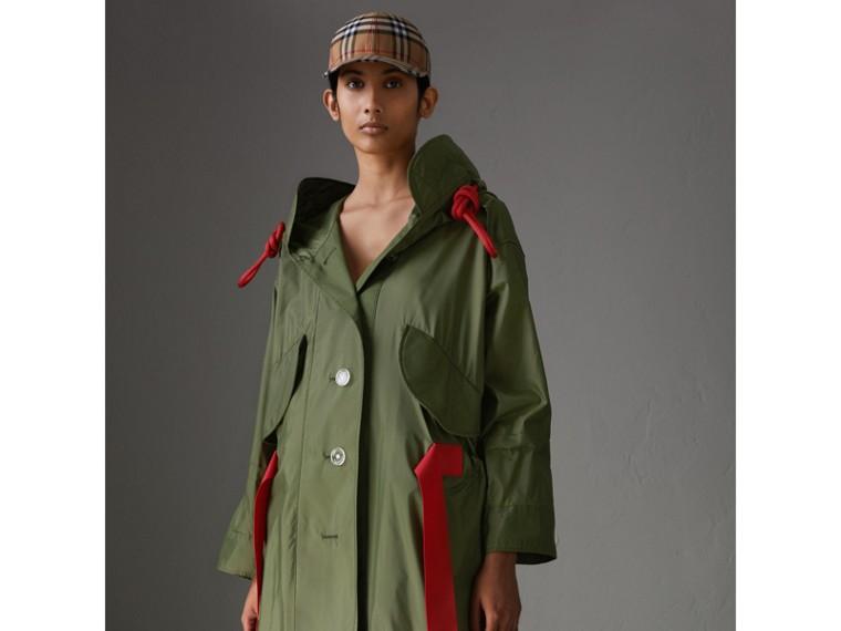 Tape Detail Showerproof Hooded Parka in Light Olive - Women | Burberry Australia - cell image 4