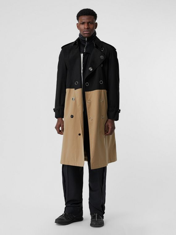 Trench coat bicolore in gabardine di cotone (Nero)