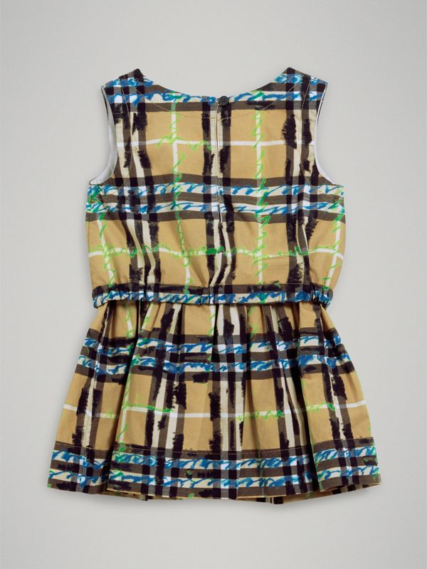 Scribble Check Print Cotton Drawcord Dress in Bright Blue - Children | Burberry Australia - cell image 3
