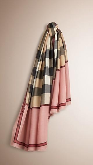 Écharpe en cachemire à motif Horseferry check et bordure contrastante