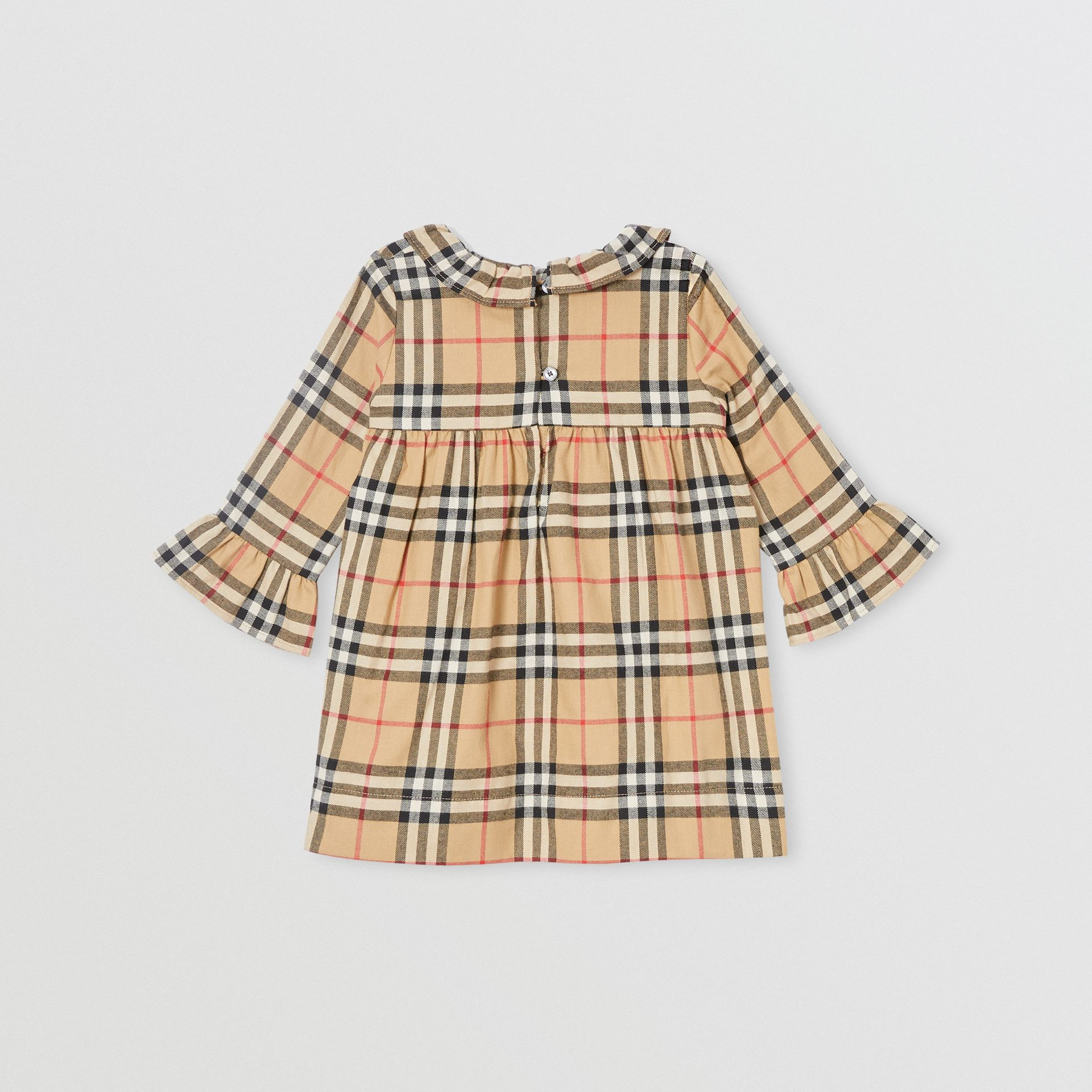 Long-sleeve Vintage Check Cotton Flannel Dress in Archive Beige - Children | Burberry - gallery image 3