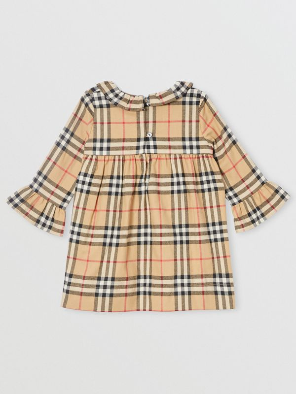 Long-sleeve Vintage Check Cotton Flannel Dress in Archive Beige - Children | Burberry - cell image 3