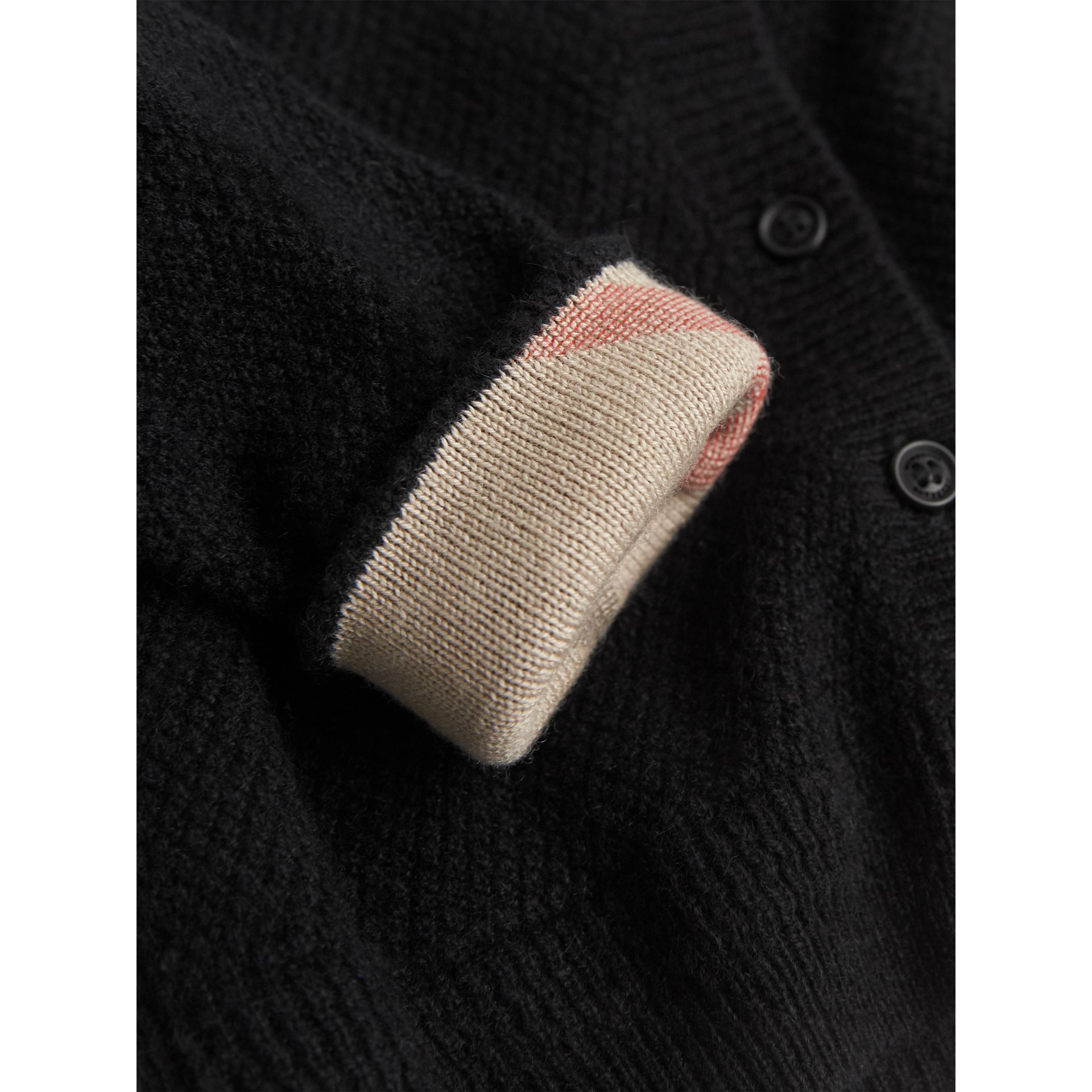 Check Detail Cashmere Cardigan in Black | Burberry - gallery image 1