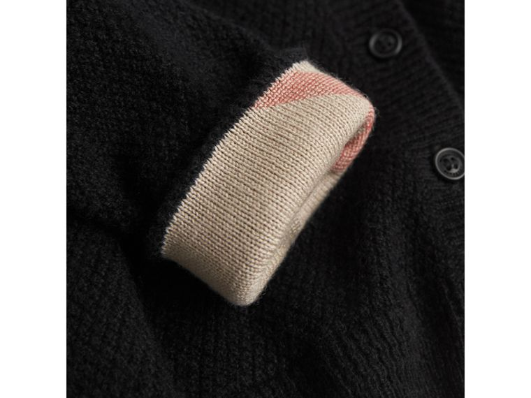 Check Detail Cashmere Cardigan in Black | Burberry - cell image 1
