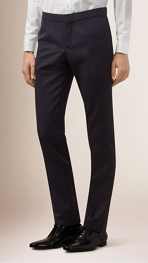 Navy Virgin Wool Tuxedo Trousers - Image 1