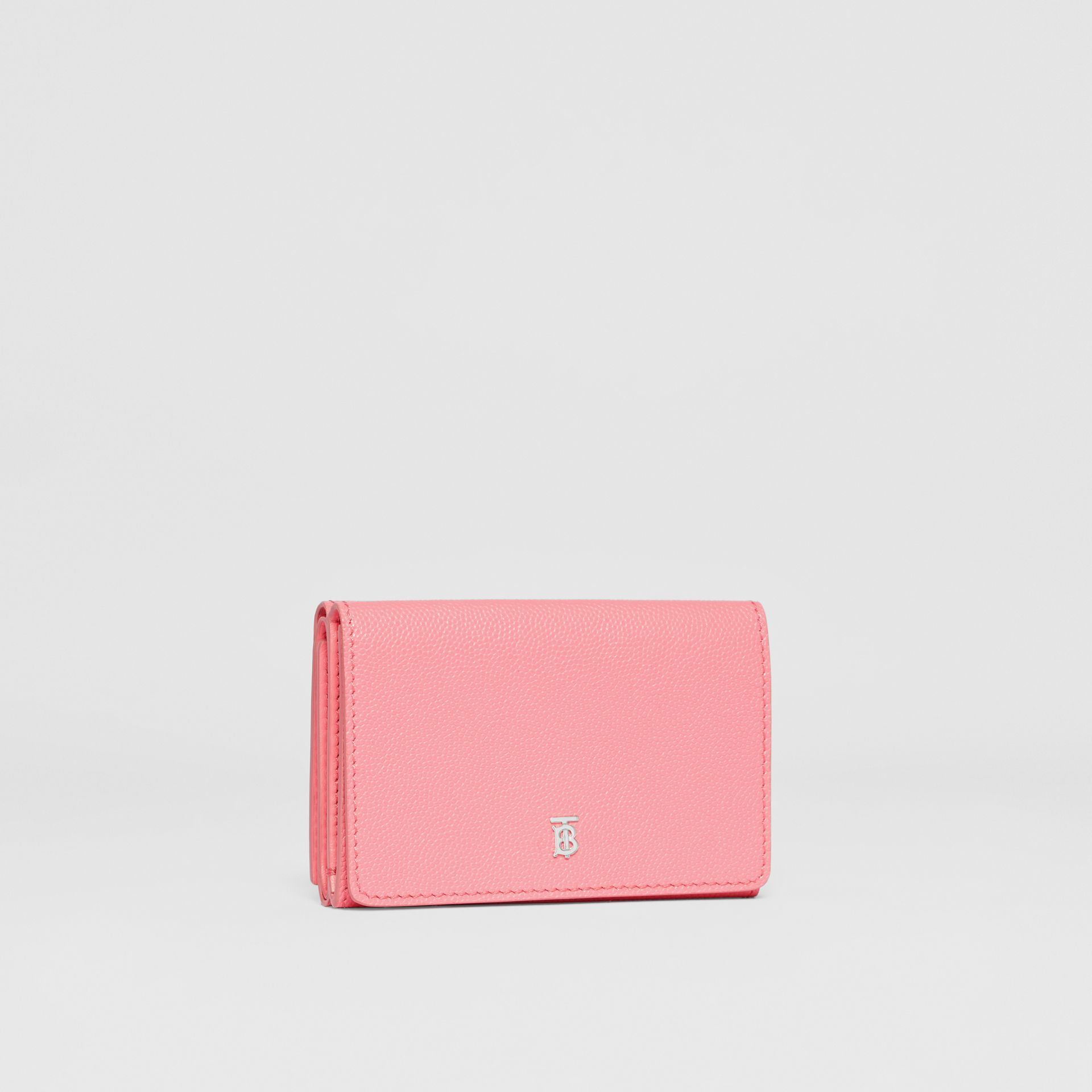 Small Grainy Leather Folding Wallet in Candy Floss/palladio - Women | Burberry - gallery image 3