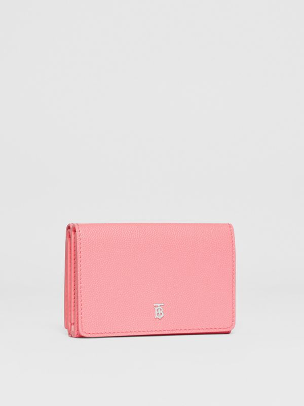 Small Grainy Leather Folding Wallet in Candy Floss/palladio - Women | Burberry - cell image 3