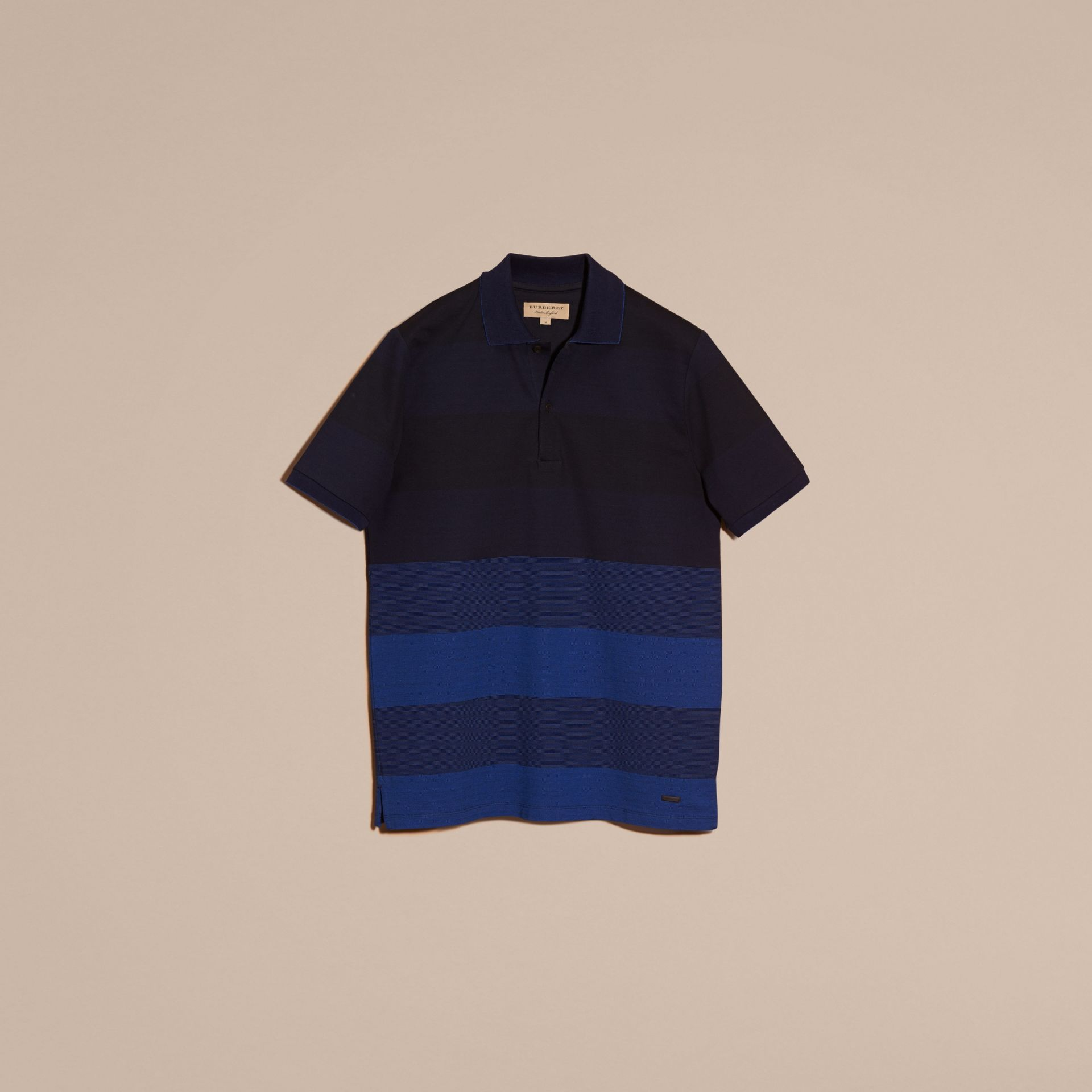 Navy Striped Stretch Cotton Piqué Polo Shirt Navy - gallery image 4