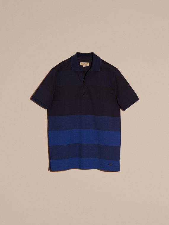 Navy Striped Stretch Cotton Piqué Polo Shirt Navy - cell image 3