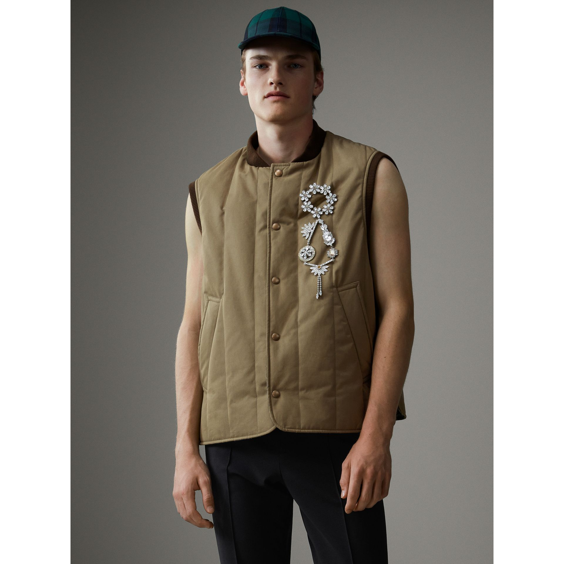 Quilted Cotton Poplin Gilet in Pale Olive - Men | Burberry Canada - gallery image 4
