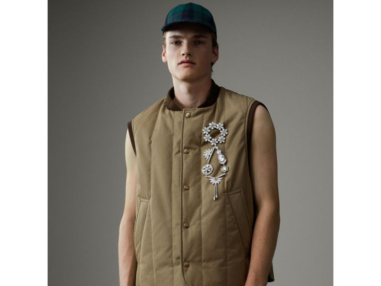 Quilted Cotton Poplin Gilet in Pale Olive - Men | Burberry United States - cell image 4