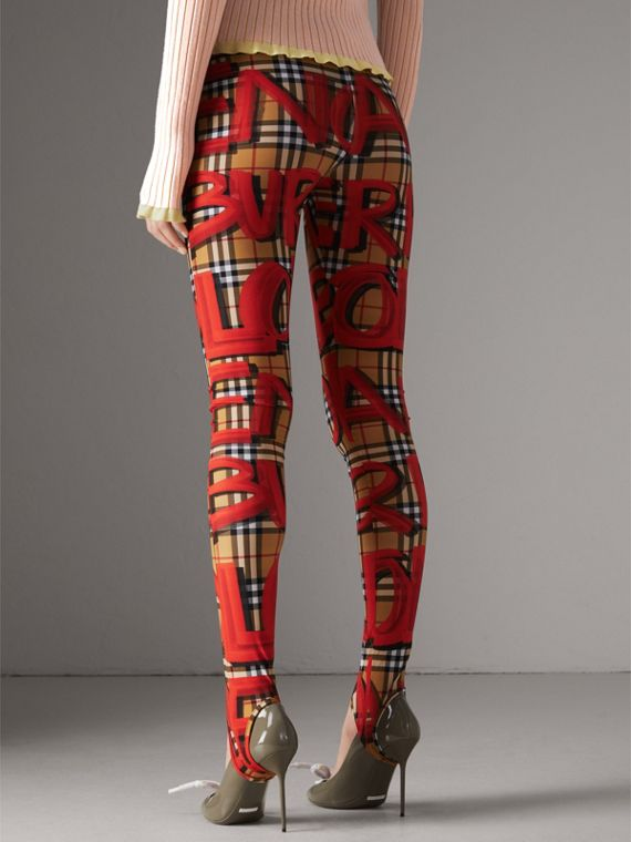 Graffiti Print Leggings in Bright Red - Women | Burberry - cell image 2