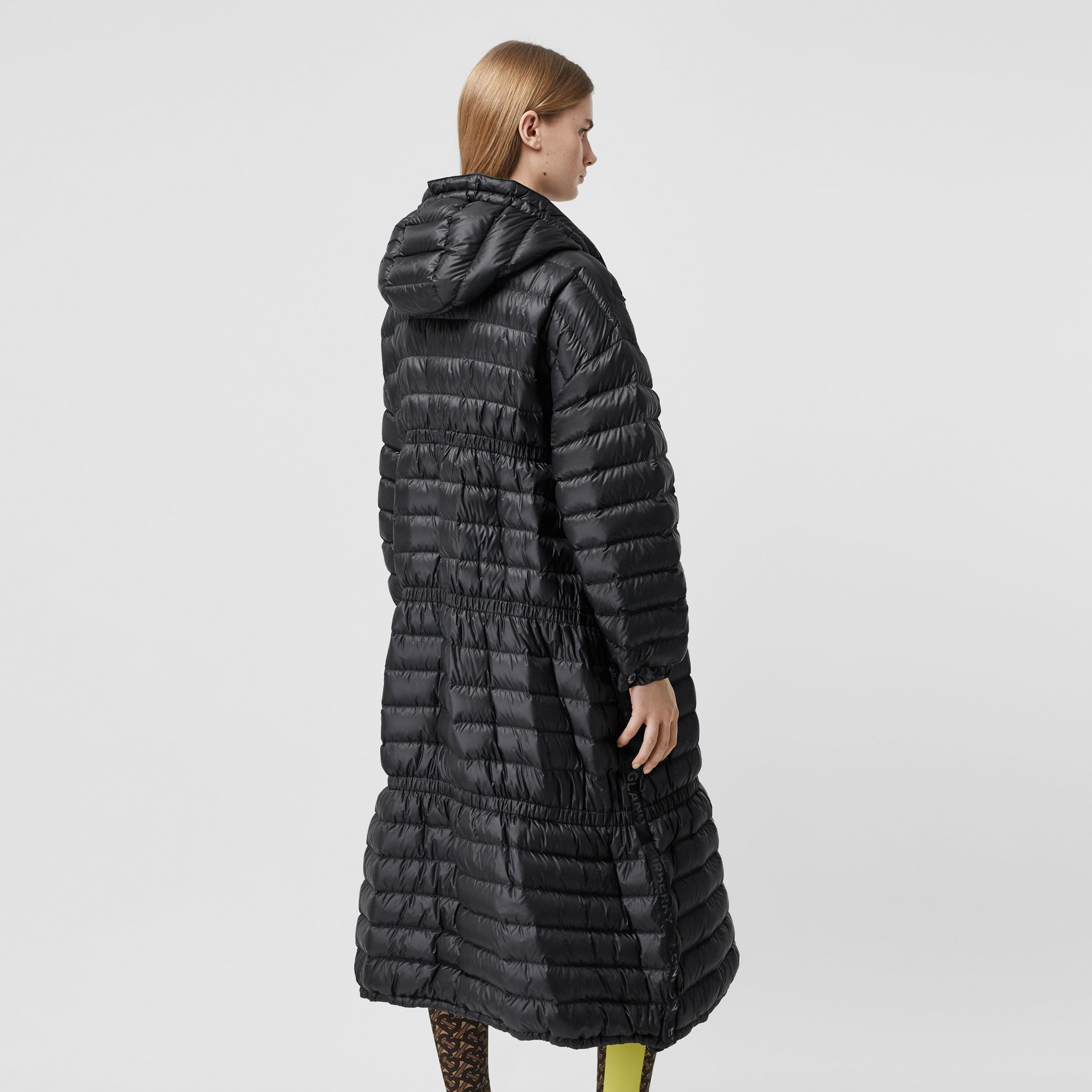 Logo Tape Lightweight Hooded Puffer Coat in Black - Women | Burberry - 3