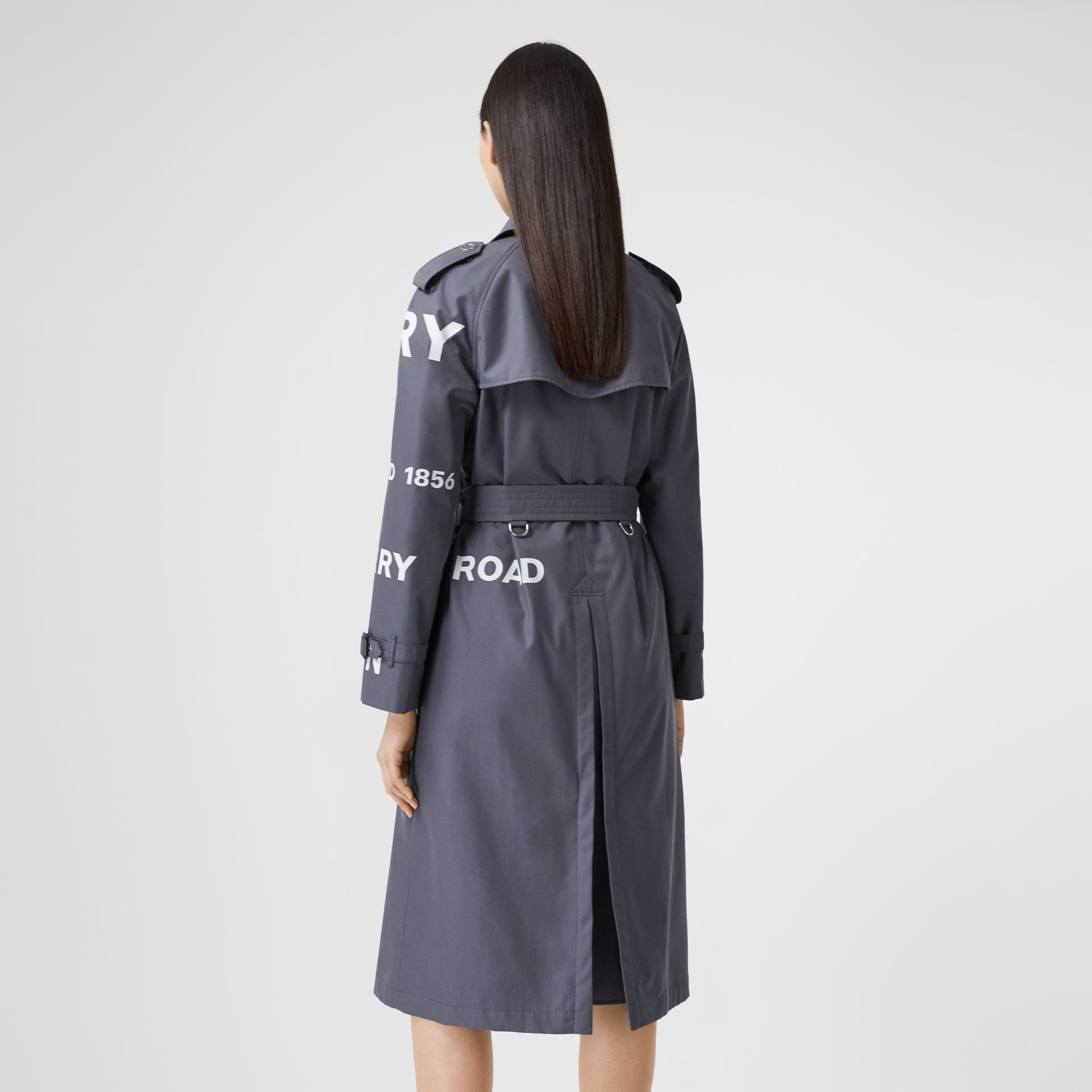 Horseferry Print Cotton Gabardine Trench Coat in Mid Grey - Women | Burberry Hong Kong S.A.R - gallery image 2