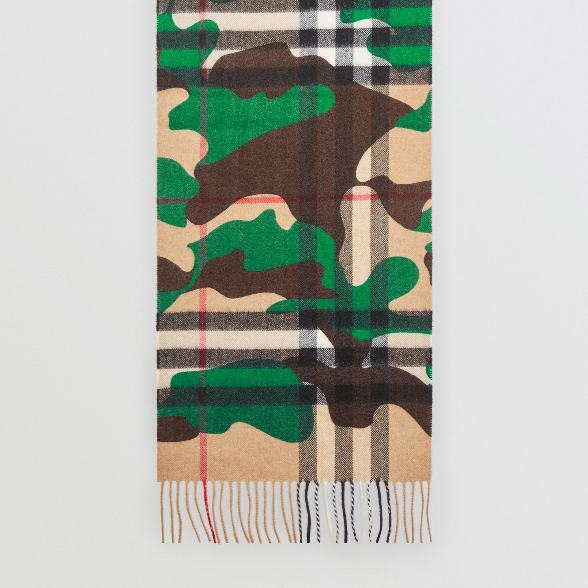 The Classic Camouflage Check Cashmere Scarf in Khaki | Burberry - gallery image 4