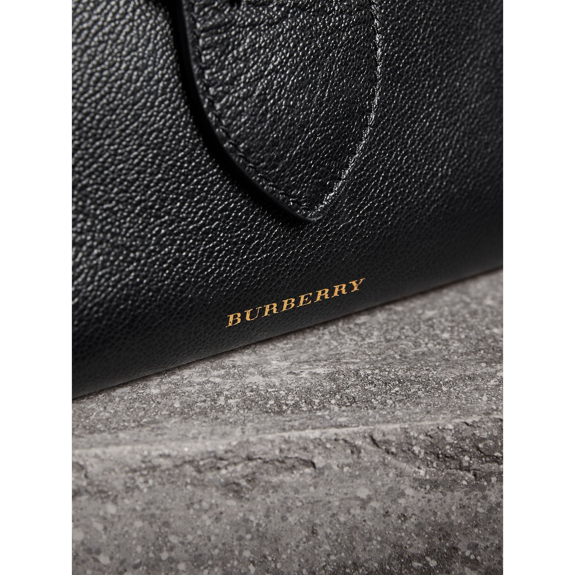 The Small Buckle Tote in Grainy Leather in Black - Women | Burberry United Kingdom - gallery image 1