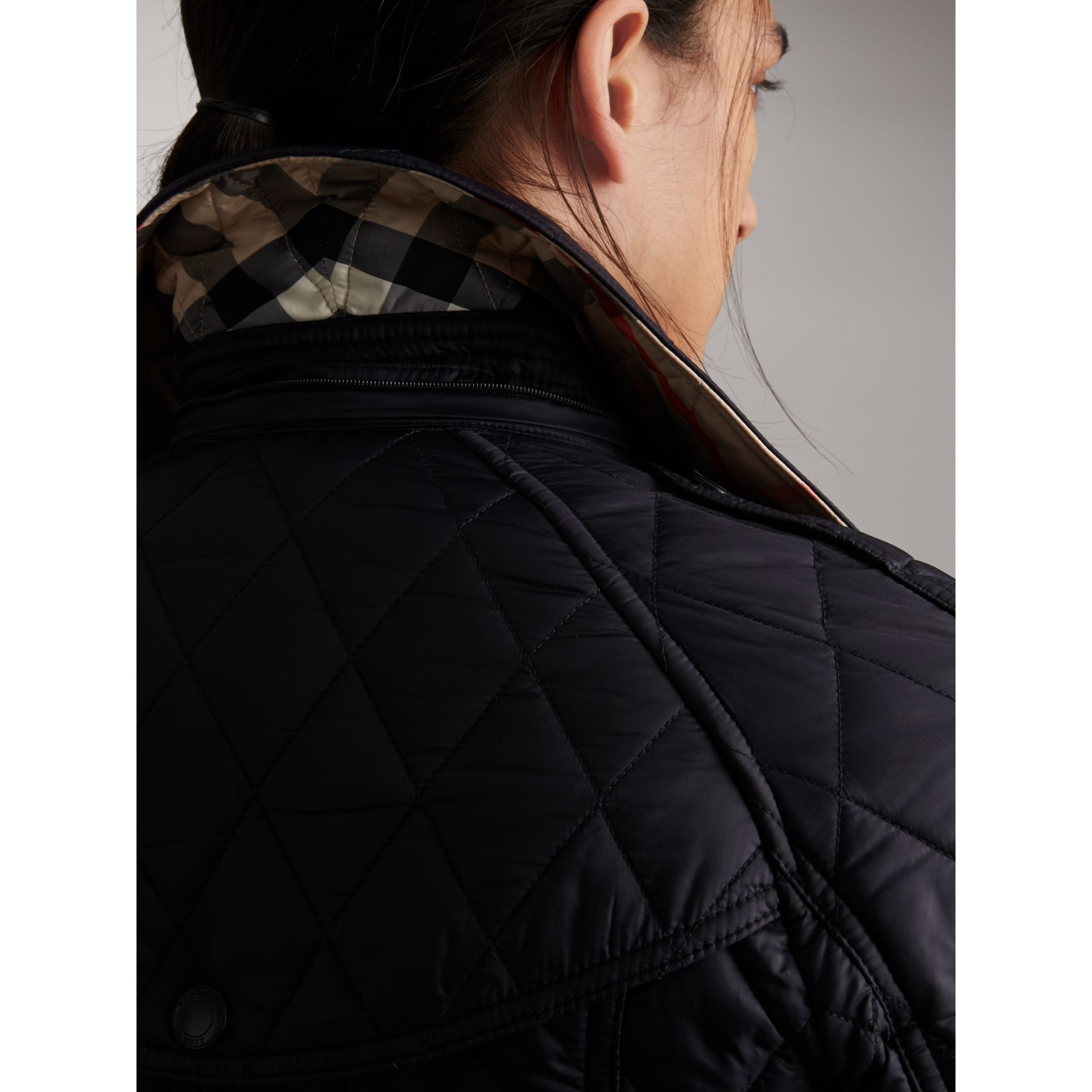 Quilted Trench Jacket with Detachable Hood in Ink - Women | Burberry - gallery image 4