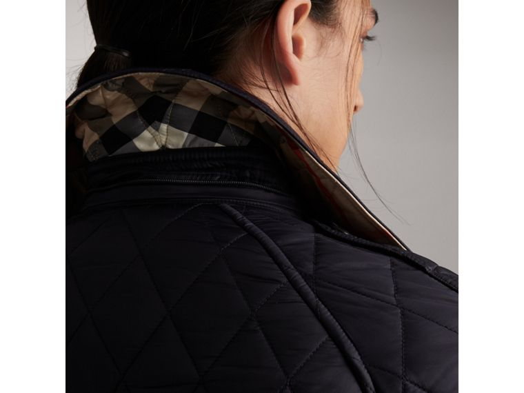 Quilted Trench Jacket with Detachable Hood in Ink - Women | Burberry - cell image 4