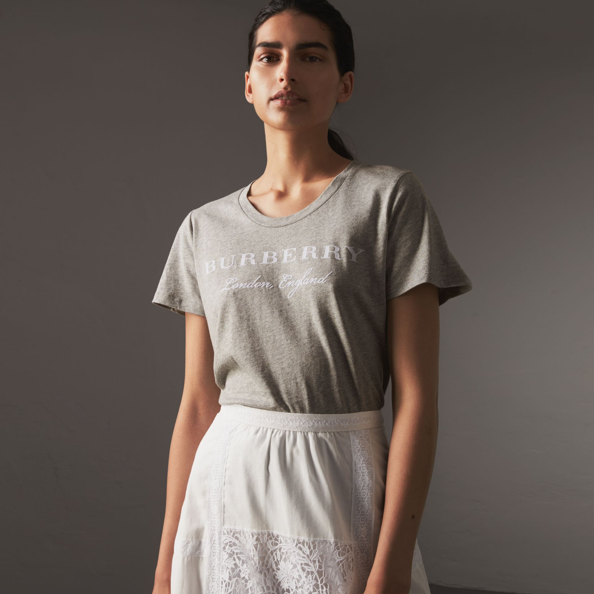 Printed Cotton T-shirt in Pale Grey Melange - Women | Burberry United Kingdom - gallery image 0