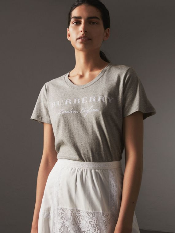 Printed Cotton T-shirt in Pale Grey Melange