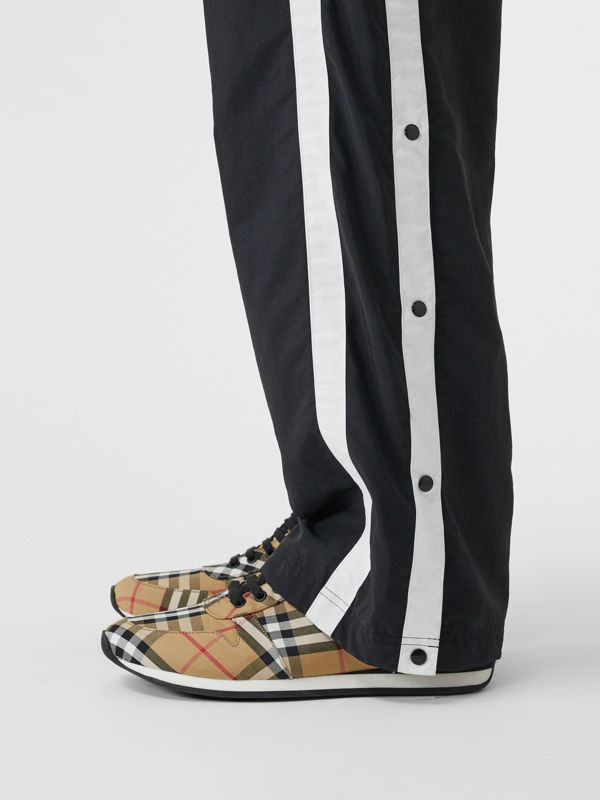 Vintage Check Cotton Trainers in Antique Yellow - Men | Burberry Canada - cell image 2