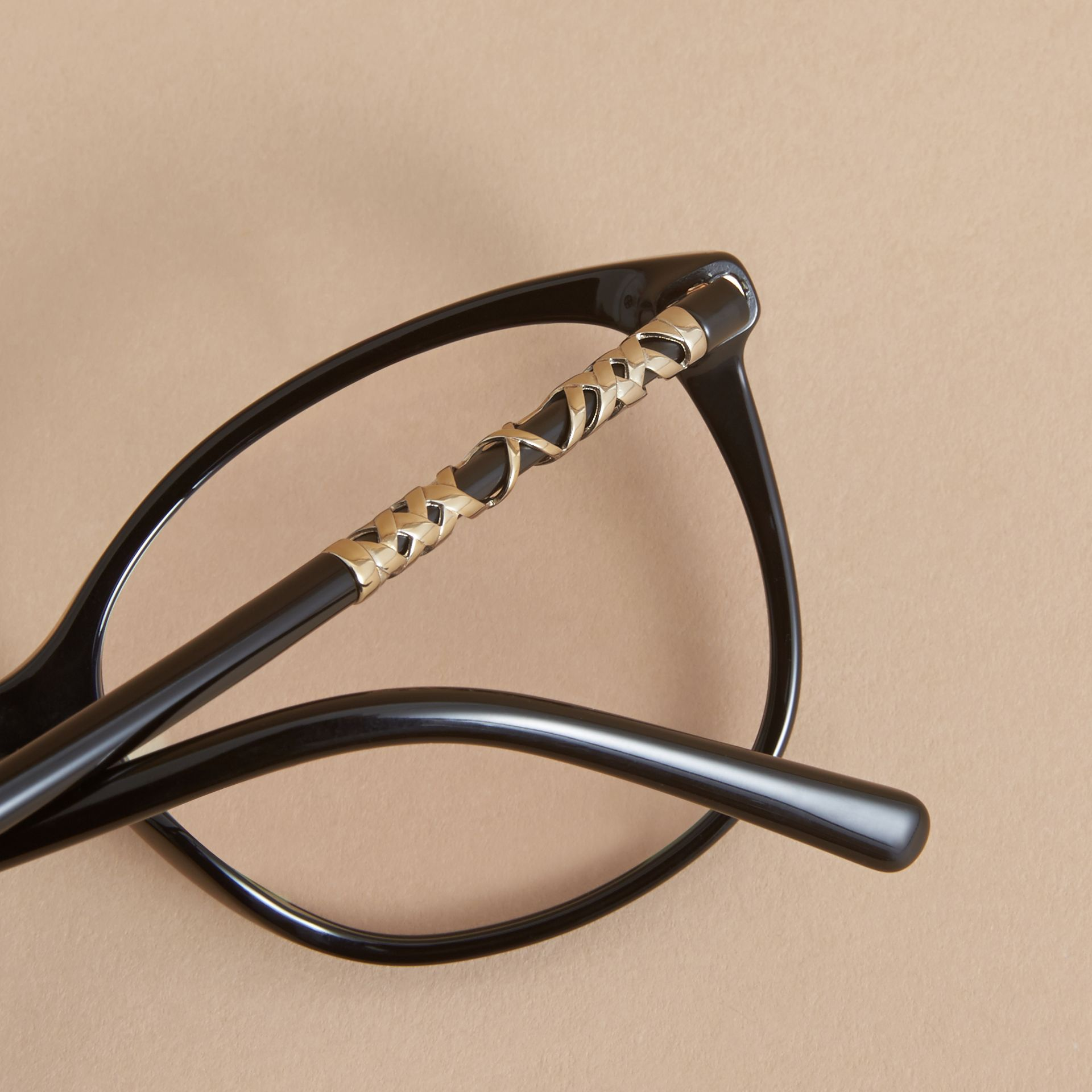 Check Detail Round Optical Frames in Black - gallery image 2