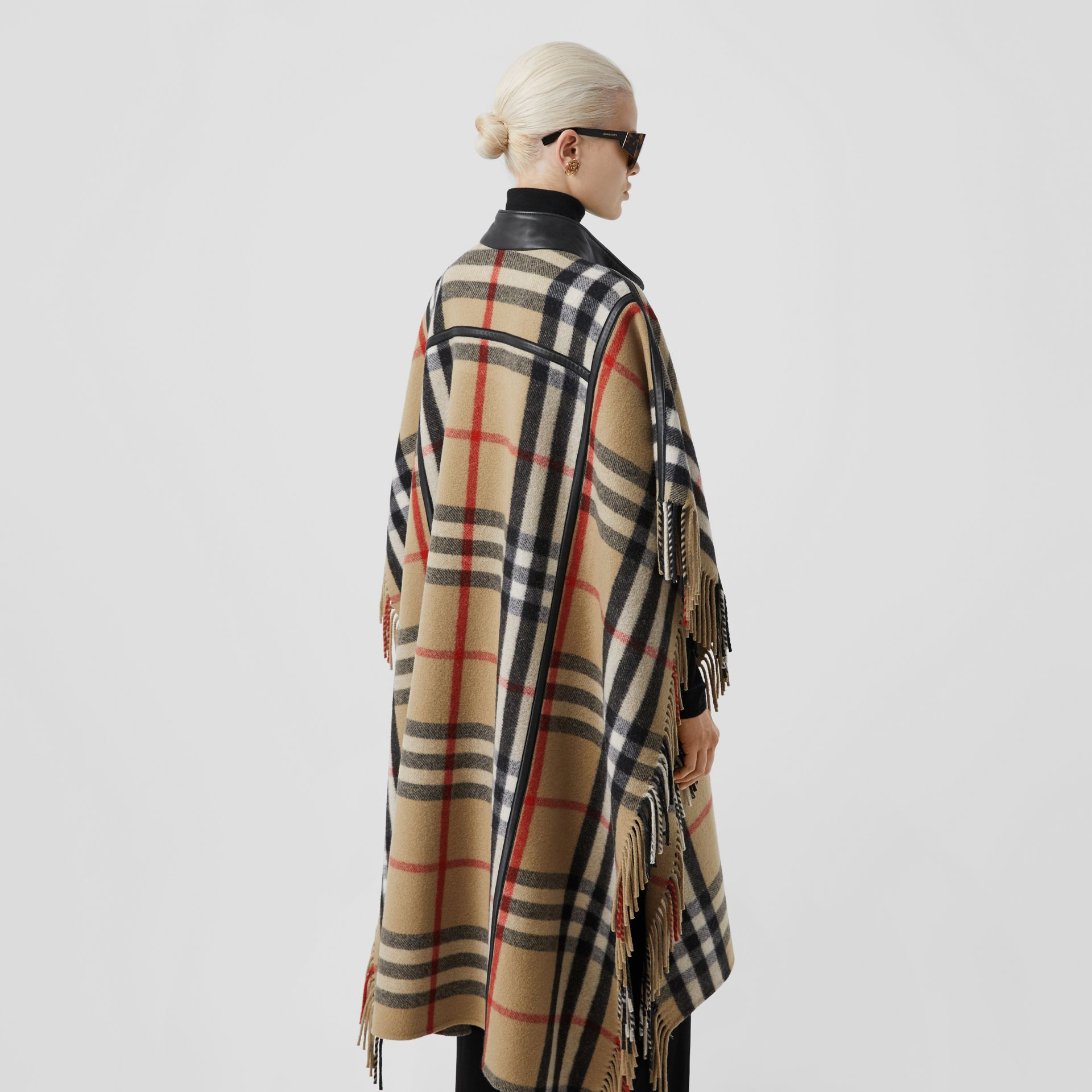 Check Wool Blend Zip-front Cape in Archive Beige | Burberry Australia - gallery image 8