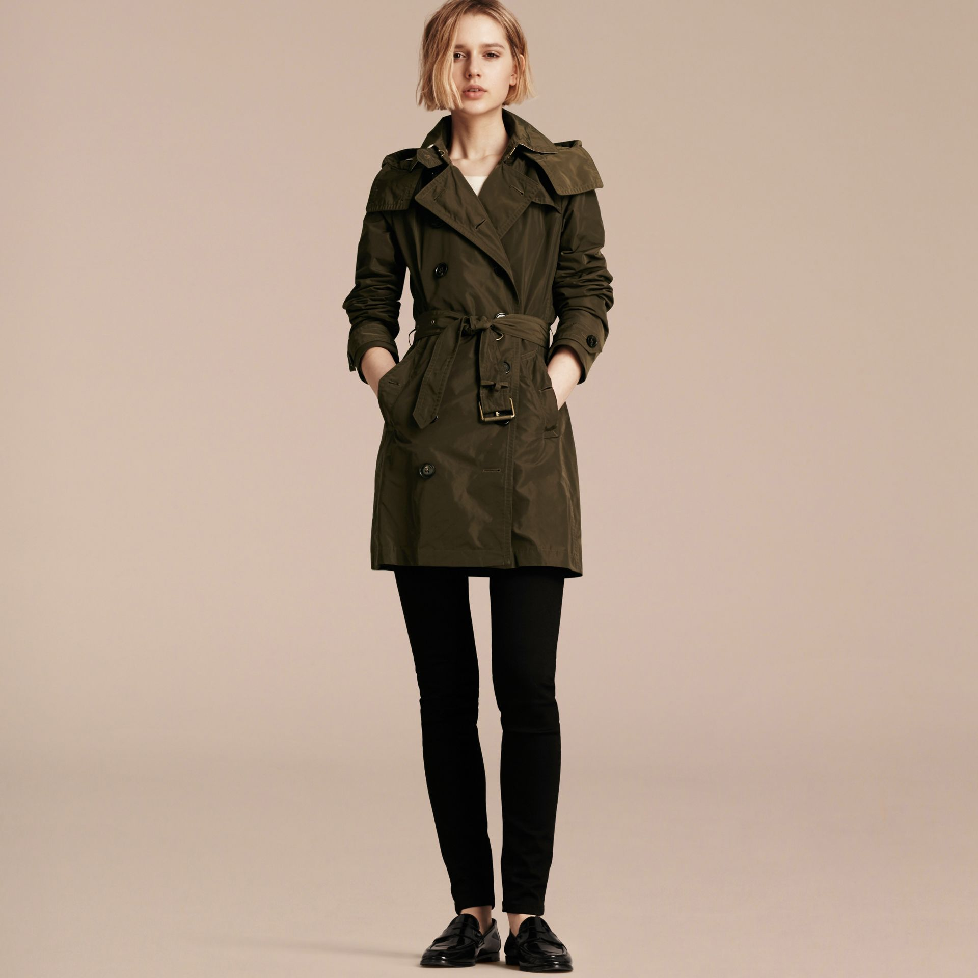 Taffeta Trench Coat with Detachable Hood in Dark Olive - Women | Burberry - gallery image 1