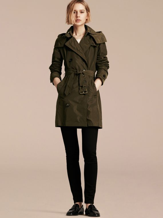 Taffeta Trench Coat with Detachable Hood Dark Olive