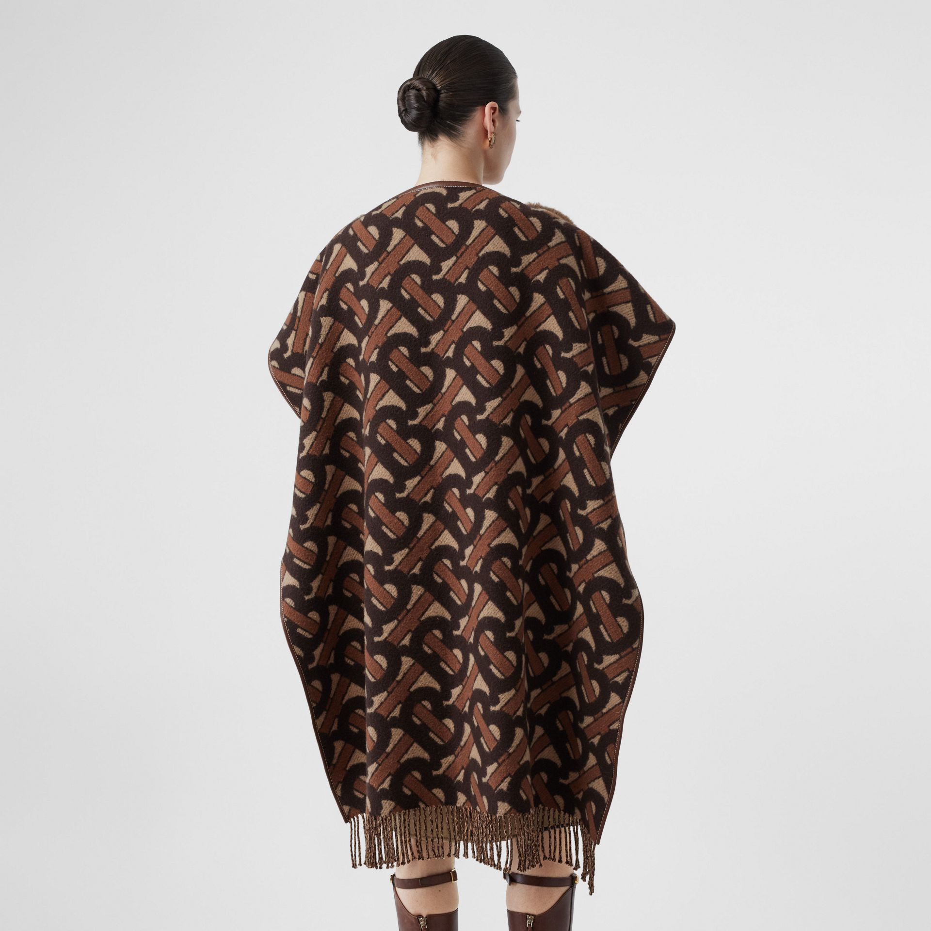 Faux Fur Detail Monogram Merino Wool Blend Cape in Dark Chestnut Brown - Women | Burberry United States - gallery image 2