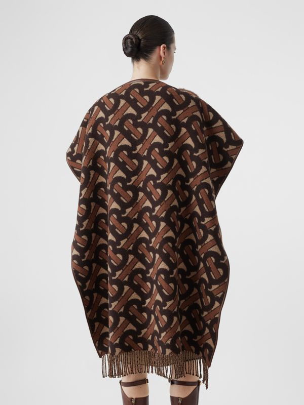 Faux Fur Detail Monogram Merino Wool Blend Cape in Dark Chestnut Brown - Women | Burberry United States - cell image 2