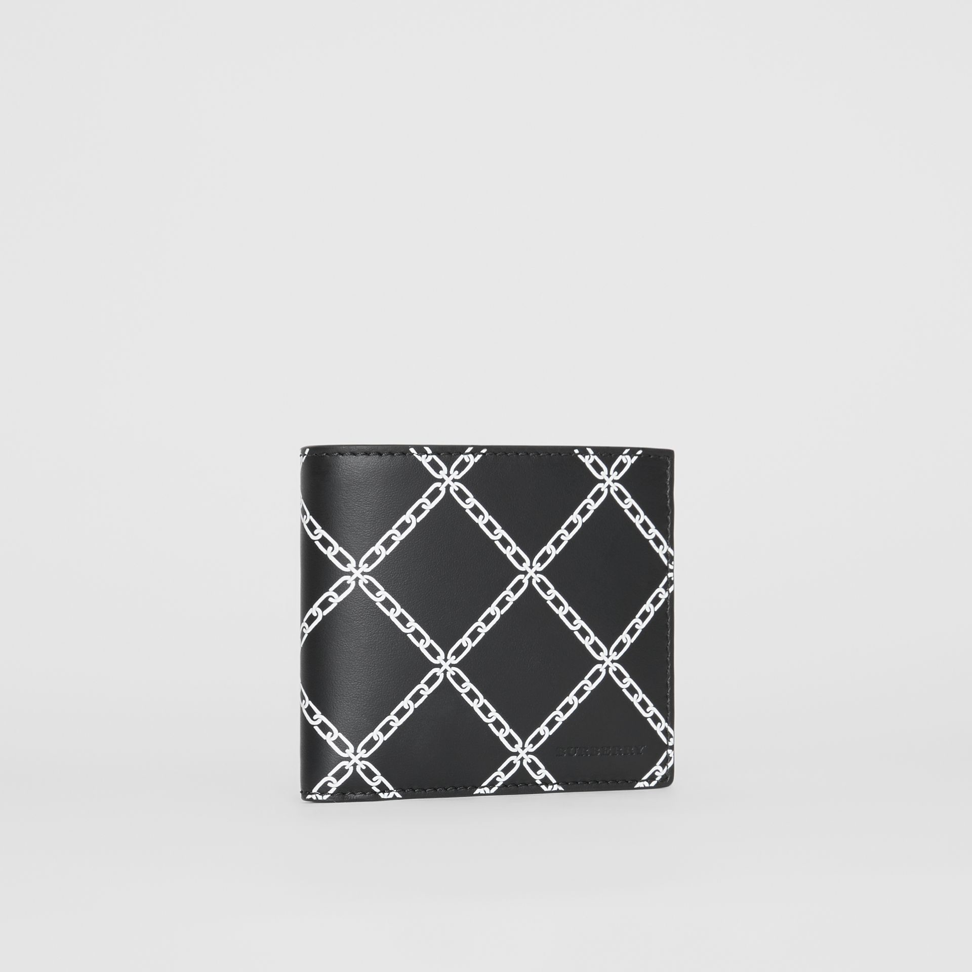 Link Print Leather International Bifold Wallet in Black - Men | Burberry United States - gallery image 3