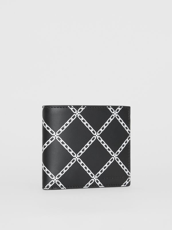 Link Print Leather International Bifold Wallet in Black - Men | Burberry Australia - cell image 3