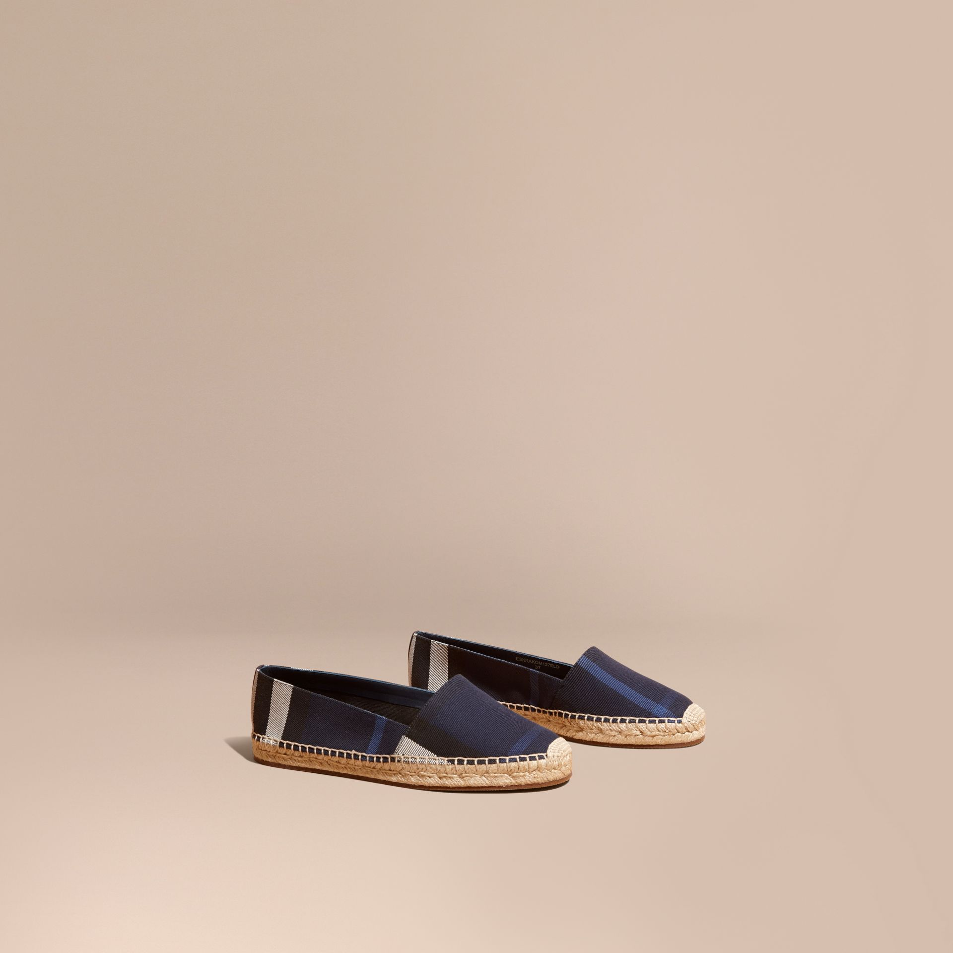 Leather Trim Canvas Check Espadrilles Indigo Blue - gallery image 1