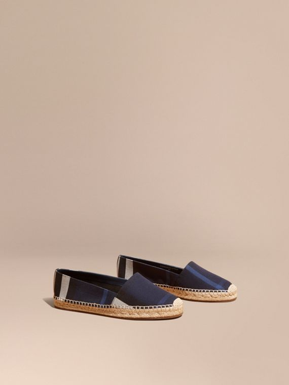 Leather Trim Canvas Check Espadrilles in Indigo Blue