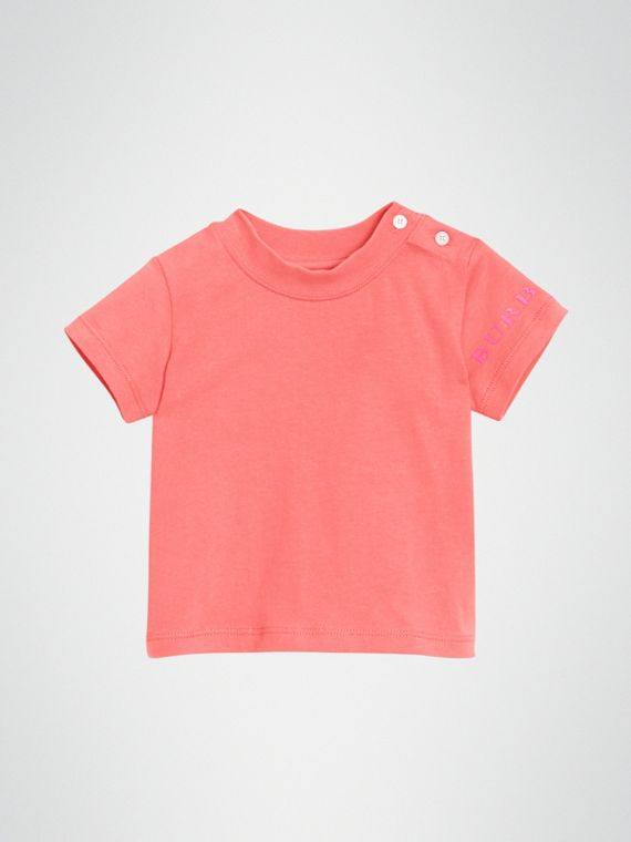 Logo Print Cotton T-shirt in Bright Pink