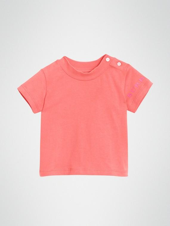 徽標印花棉質 T 恤 (亮粉紅色)