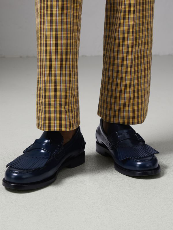Kiltie Fringe Leather Loafers in Navy - Men | Burberry - cell image 2