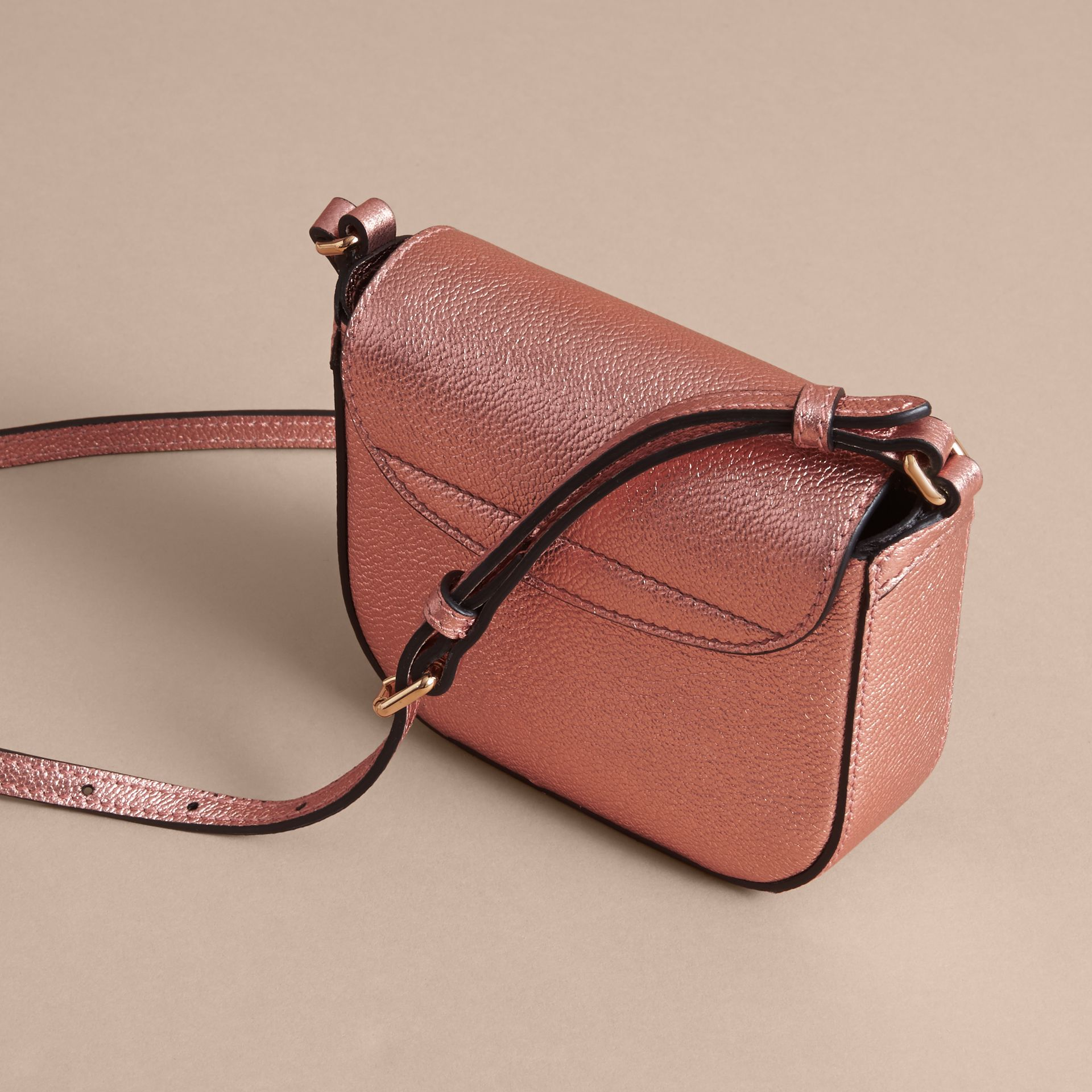 Metallic Leather Crossbody Bag in Copper Pink - Girl | Burberry Australia - gallery image 3