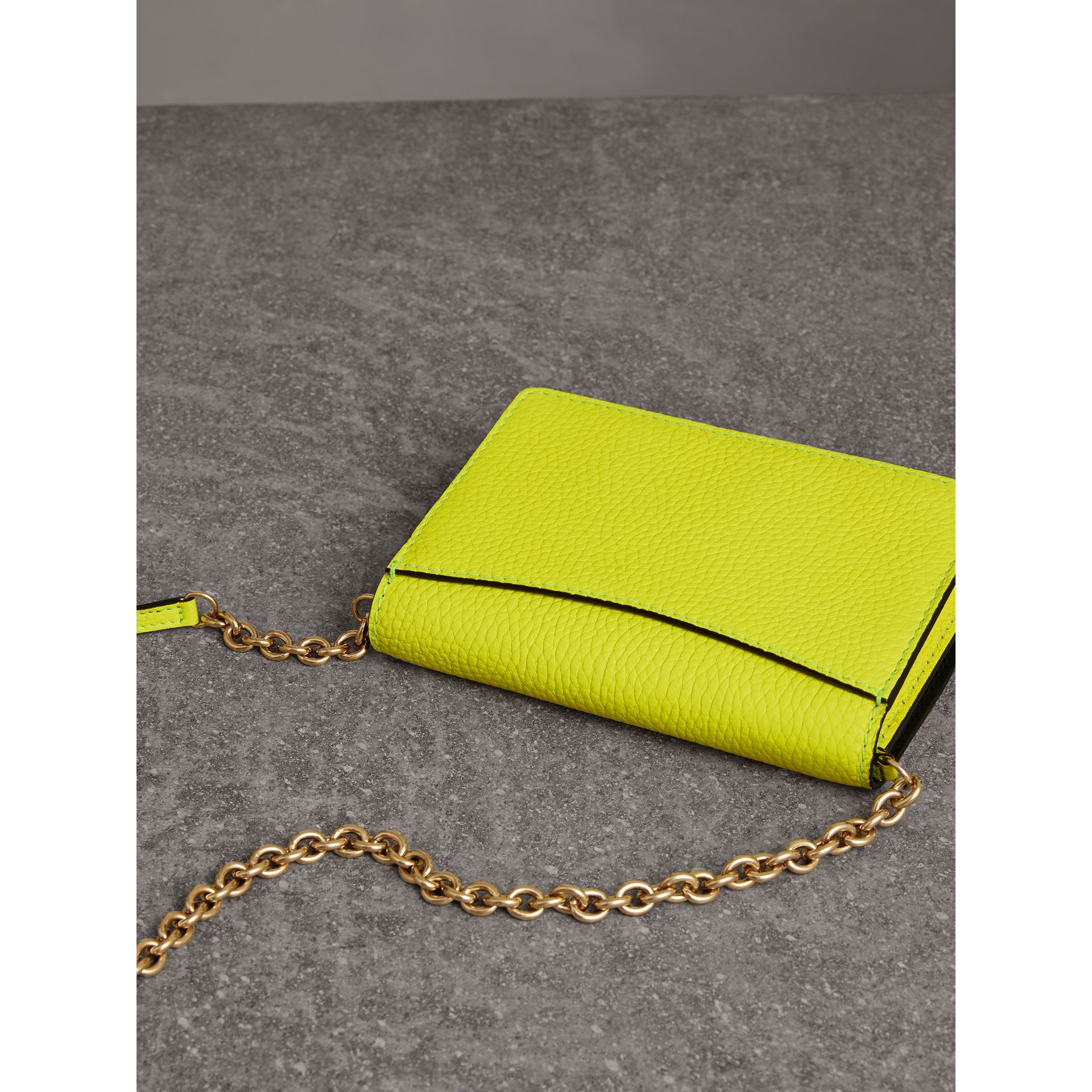 Embossed Leather Wallet with Detachable Strap in Bright Yellow - Women | Burberry - gallery image 3