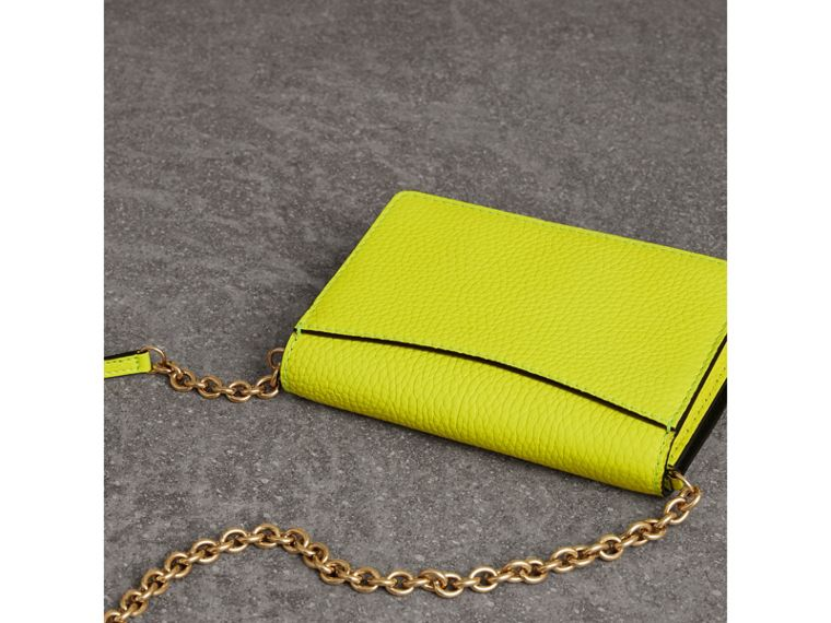 Embossed Leather Wallet with Detachable Strap in Bright Yellow - Women | Burberry Australia - cell image 4