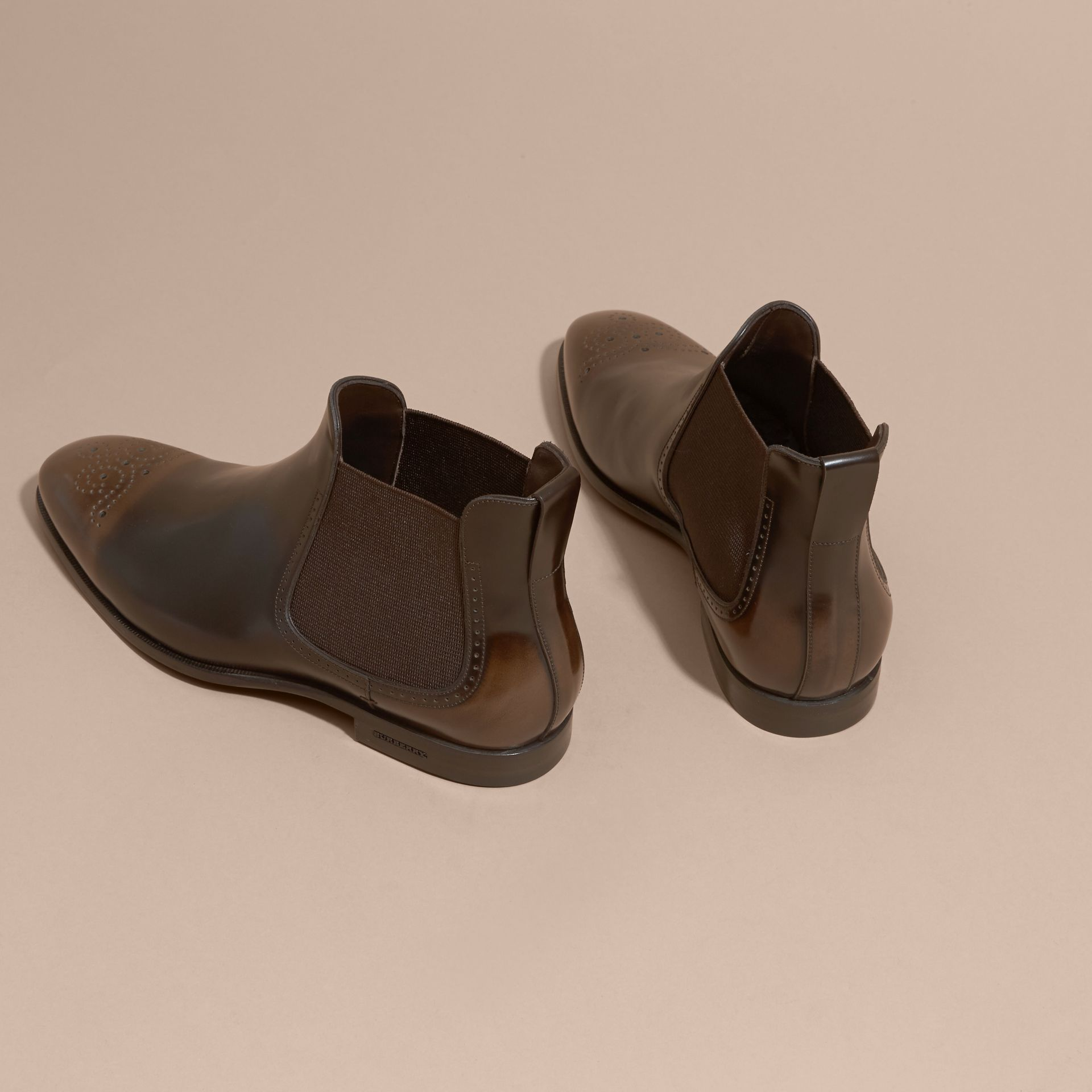 Perforated Detail Leather Chelsea Boots in Chocolate Brown - Men | Burberry Canada - gallery image 4
