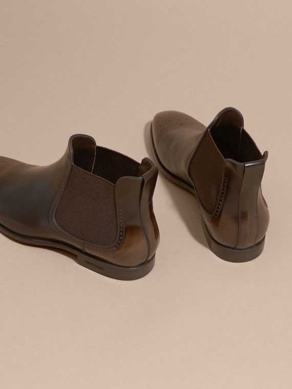 Perforated Detail Leather Chelsea Boots in Chocolate Brown - Men | Burberry - cell image 3