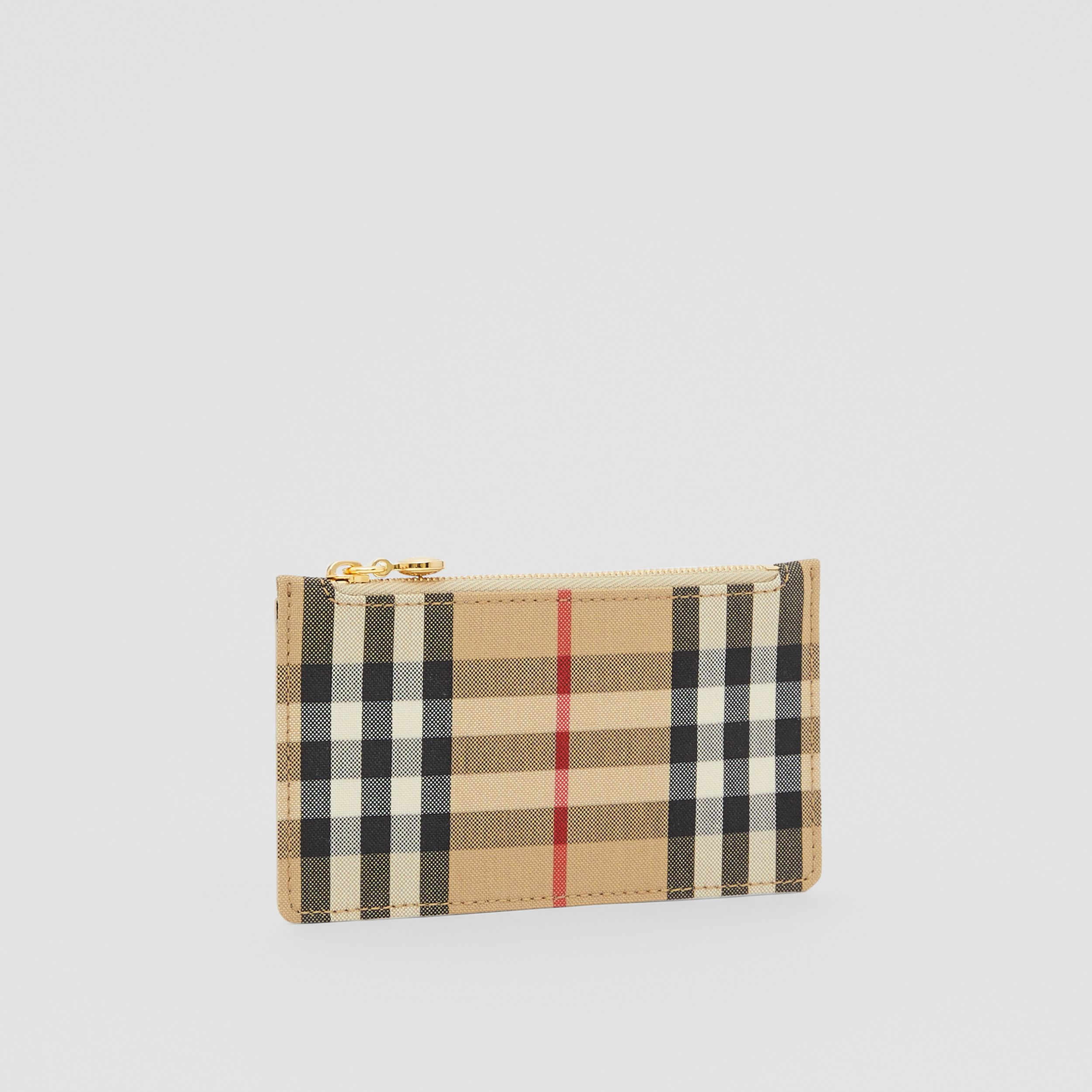 Vintage Check and Leather Zip Card Case in Light Beige - Women | Burberry Hong Kong S.A.R. - 4