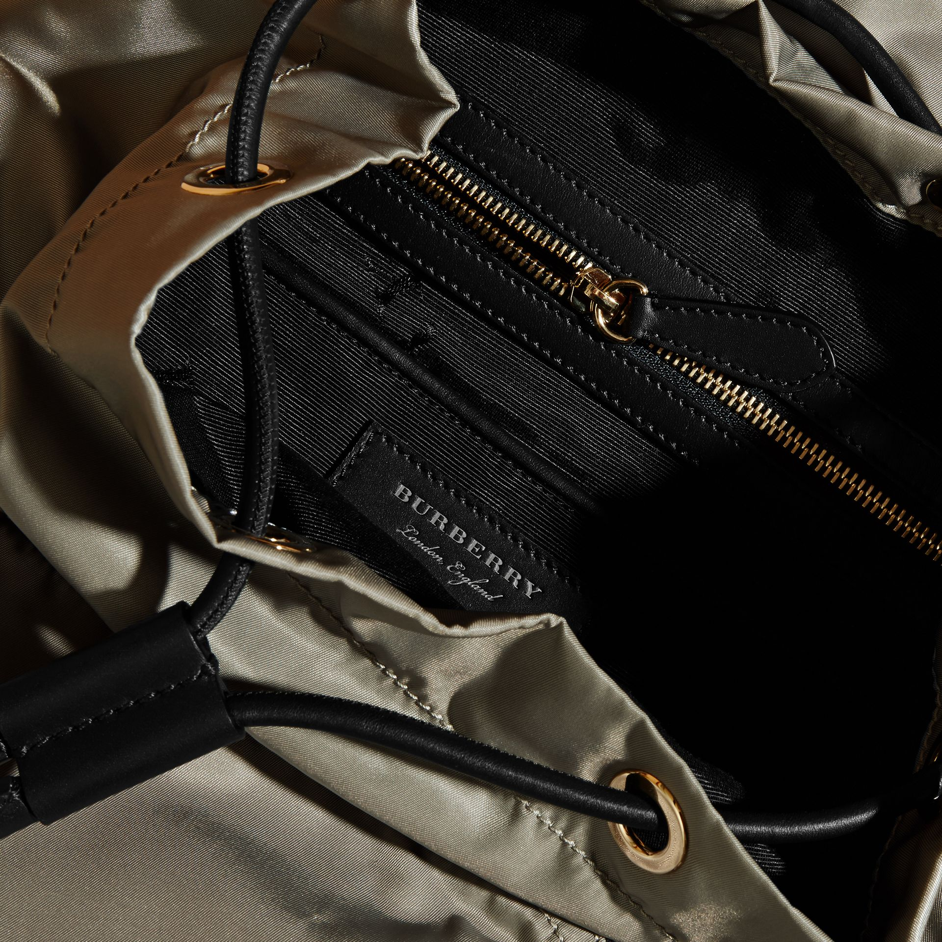 The Medium Rucksack in Technical Nylon and Leather in Thistle Grey - Women | Burberry - gallery image 5