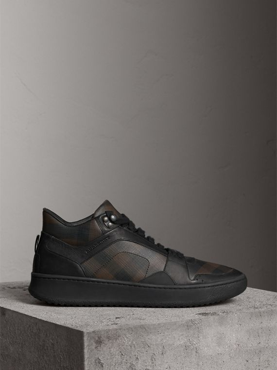 London Check and Leather High-Top Trainers in Smoked Chocolate - Men | Burberry - cell image 3