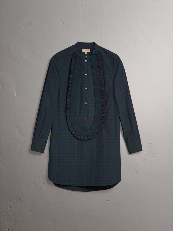 Ruffle Detail Check Cotton Tunic Shirt in Ink Blue - Women | Burberry - cell image 3