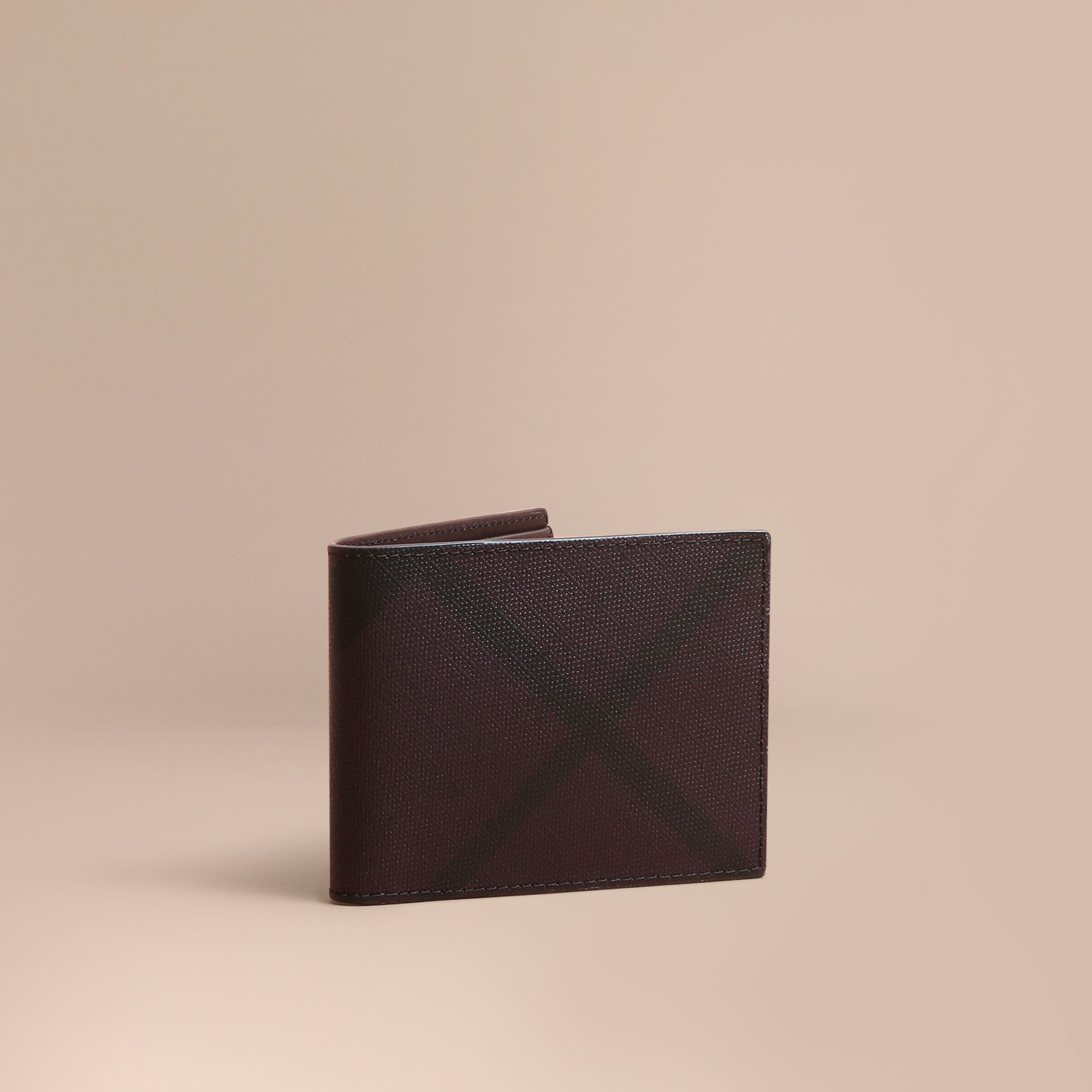 London Check Bifold Wallet in Deep Claret - Men | Burberry - gallery image 1