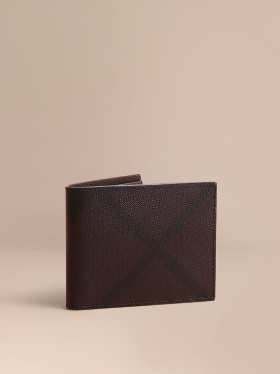 London Check Bifold Wallet in Deep Claret